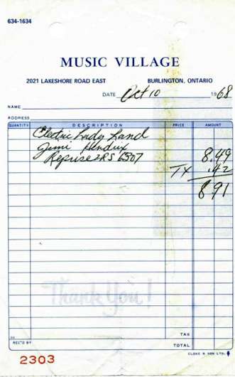 Electric Ladyland receipt